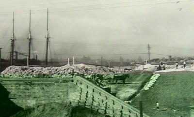 Lifting the Road on Glebe Island to the New Bridge circa 1900