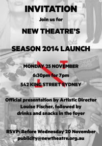 Invitation to New Theatre 2014 Program Launch